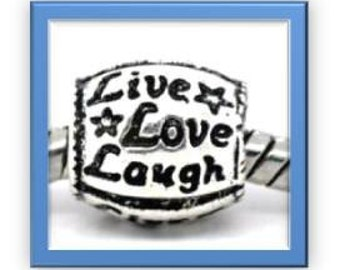 LIVE LOVE LAUGH  Bead - Fits European Style Bracelets