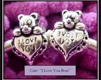 Darling Bear I Love You Charm - Fits European Style Bracelets