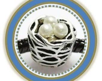 Bird Nest with White Eggs Charm - Fits European Style Bracelets