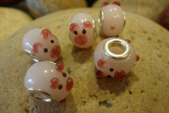 Special Listing for Lindsey - Little Pink Pig Lampwork Bead - European Style Bead