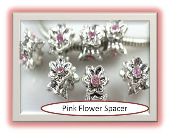 Pink Circle of Flowers - Pandora Style Bead