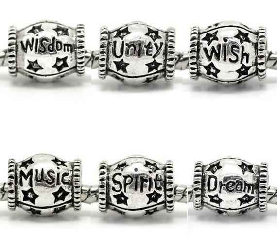 Your Choice of 1 - Dream, Wisdom, Wish, Music, Unity or Spirit Bead - Fits European Style Bracelets