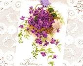 Vintage Image Basket of Violets Bonne Fete Gift Tags Set of 4