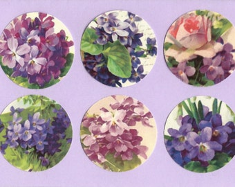 Shabby Chic Style, Stickers, Violets, Violet Sticker Seals
