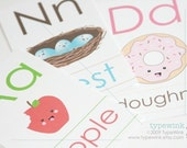 Cute Kawaii ABC alphabet Flash Cards - Printable PDF