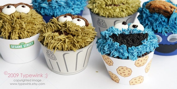 Sesame Street Cupcakes - PDF printable Package - Instructions included