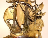 SALE - Giant Brass-Colored Nautical Sail Boat/Ship Wall Hanging