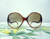Rare 1970's MONACO Brand Tortoiseshell Oversized French Sunglasses with Aurora Borealis Glass Lenses