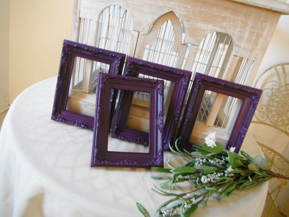 4 piece set easel back picture frames purple frames weddings nursery ornate frames baroque style french country shabby chic, 8 - 4x6 silver