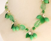 Lime necklace, vintage inspired czech glass wire wrapped beaded fruit necklace, lime green