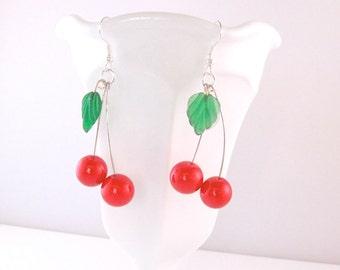 Cherry earrings, beaded bing cherry drop earrings, rockabilly retro