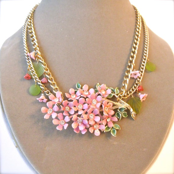 Upcycled vintage enamel brooch necklace, pink flower cluster with gold chain, OOAK statement piece