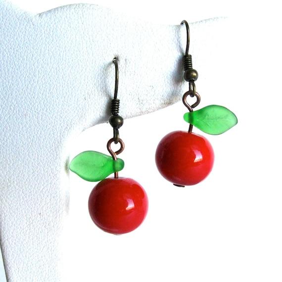Apple earrings fruit jewelry, red apple beaded earrings