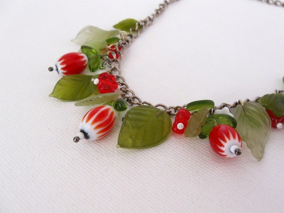 Beaded necklace, glass leaves and red flowers on chain, 1950's inspired, charm necklace,