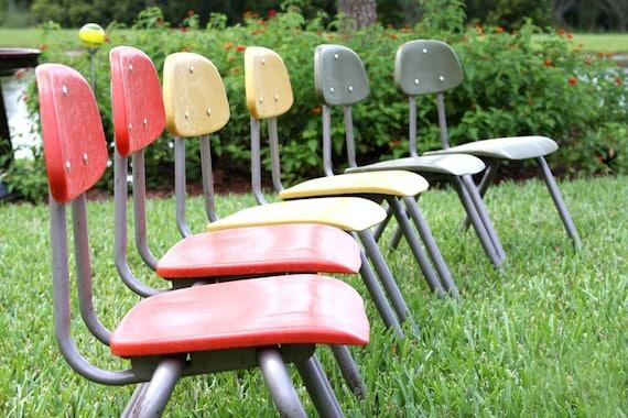 RESERVED - 1970s Childrens School Chair - Retro Orange