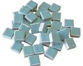 Mini Ceramic 3/8 Light Blue square tiles...50 ct...Mosaic tile Embellishments