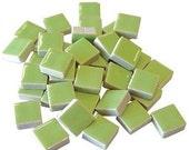 Mini Ceramic 3/8 Lime Green square tiles...50 ct...Mosaic tile Embellishments