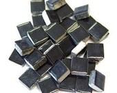 Mini Ceramic 3/8 Black square tiles...50 ct...Mosaic tile Embellishments