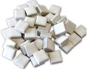 50 count...Mini White Ceramic 3/8 tiles...Mosaic tiles...Sale