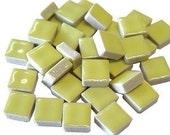 Mini Ceramic 3/8 Yellow square tiles...50 ct...Mosaic tile Embellishments