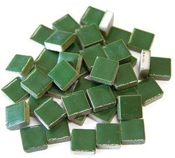 Mini Green 3/8 inch ceramic tiles for Mosaic...50 count
