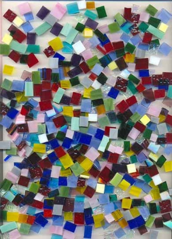 Recycled Stained Glass Craft Mix Mosaic Tiles