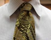 Vintage Mustard yellow nectie 1960s Louries Patchwork Pattern necktie