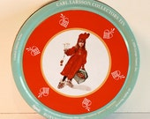 Vintage 1989 Collectible Round Carl Larsson Christmas Tin Can