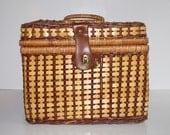 Vintage Wicker Picnic Basket Lined