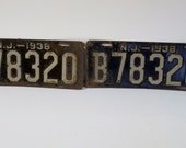Antique 1938 New Jersey License Plates