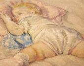 Vintage  3-D Artograph Baby Picture Print