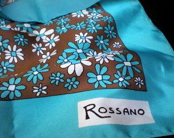 Vintage Scarf - Italian Rossano Floral Brown Turquoise White
