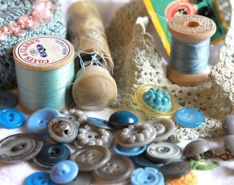 Vintage Baby Blue Collection of Sewing Supplies and Buttons treasury item