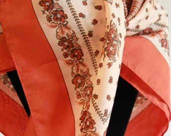 Vintage Floral Silk Scarf orange brown white