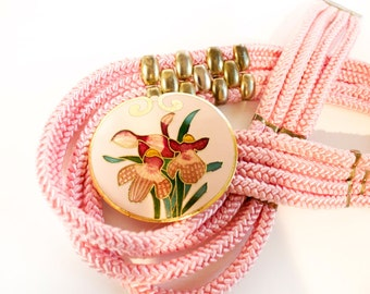 Vintage Pink belt - 1970s women's Pink Rope Belt with Floral enamel buckle