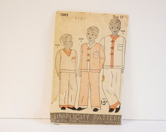Vintage 1930s Simplicity Pattern 7082 Boys or girls Pajamas In Three Styles