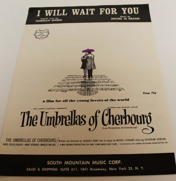 Vintage 1964 I Will Wait For You Sheet Music