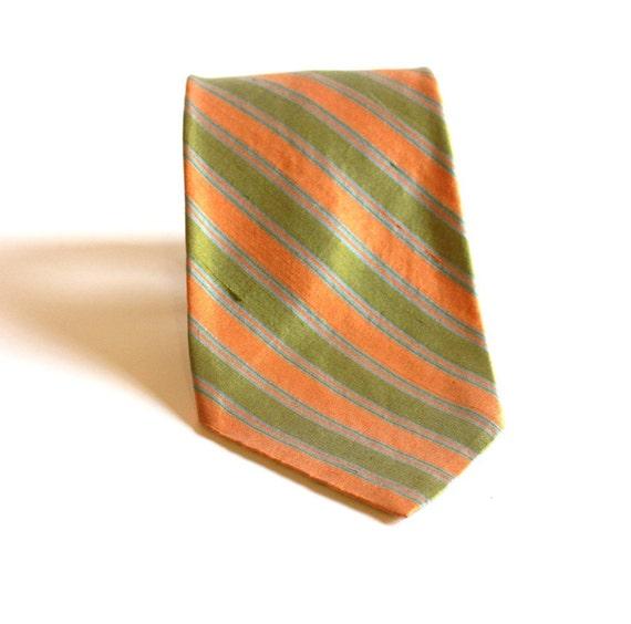 Vintage Orange and green Silk Tie by Kipper