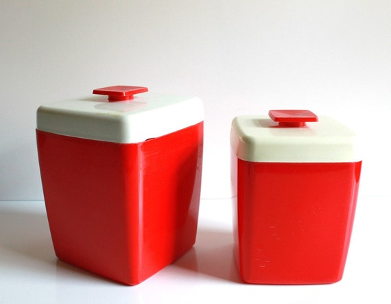 Vintage Red  Retro Coffee and Tea Canisters