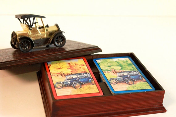 Vintage Double deck Playing Cards with A Antique Car Case