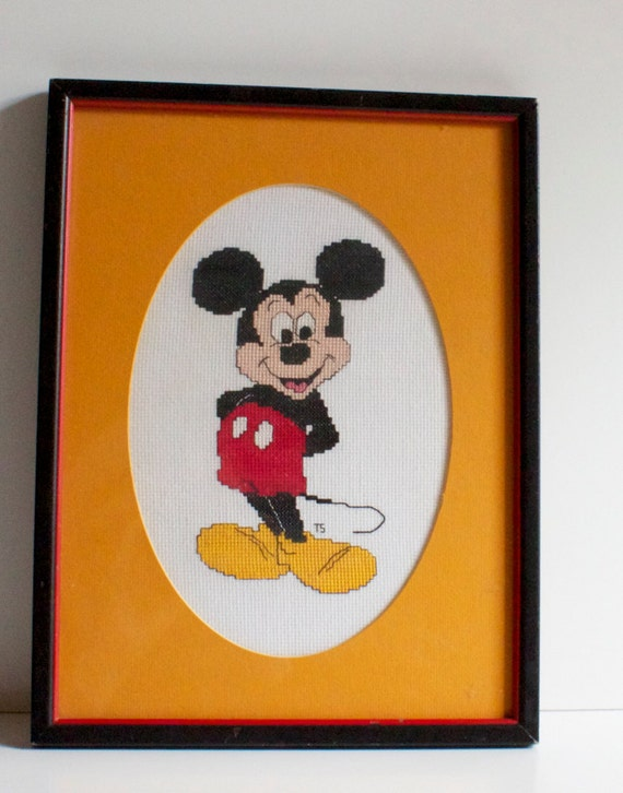 Vintage Mickey Mouse Framed Cross Stitch Picture