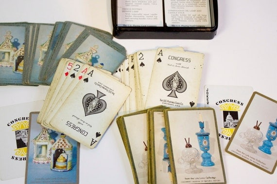 Vintage Congress Double Deck Playing Cards with vintage Lamps