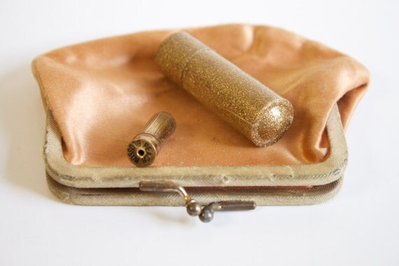 Vintage coin purse with Avon mini lipstick and tube