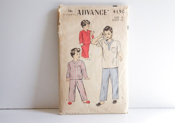 Vintage 1940s Advance Pajama Pattern 4190