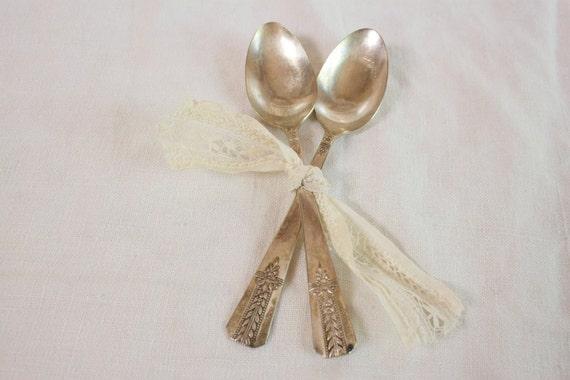 Vintage 1940s teaspoons - Vernon silver plate Romford pattern Set of two