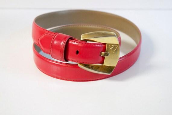 Vintage 1989 Red Leather Belt by Liz Claiborne