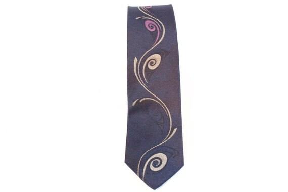 Vintage 60s blue skinny necktie