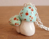 mushrooms pendant necklace