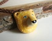 bear head pendant necklace