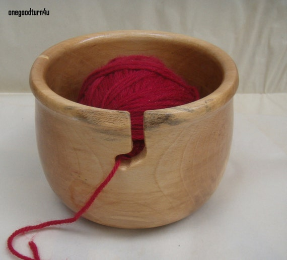 Wooden Knitting Wool Holder : Wooden yarn bowl sycamore woodturning holder by